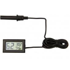Мини гигрометр термометр с выносным датчиком черный