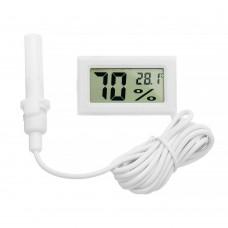 Мини гигрометр термометр с выносным датчиком белый