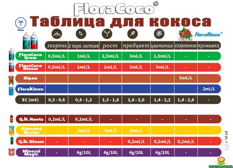 Таблица новая Flora Coco 2018 г.